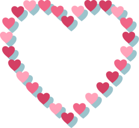 Pink Heart with Hearts Outline PNG
