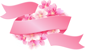 Pink Ribbon with Flowers PNG