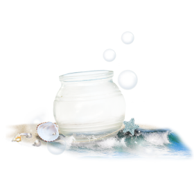 Crystal Pot with Sea Shells PNG