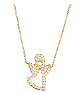 Angel Necklce Gold PNG