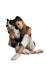 Ariana Grande cuddling with a cat PNG