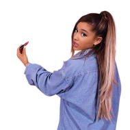 Ariana Grande in blue pullover PNG