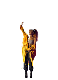 Ariana Grande in yellow dress on stage PNG
