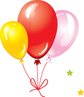 Party Balloons with Bow PNG