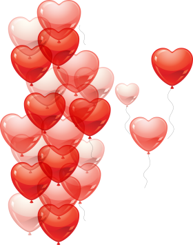 Many Flying Heart Balloons PNG