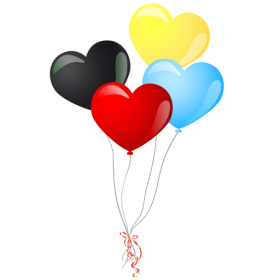 Colorful Heart Balloons PNG