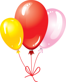 Multicolored Flying Balloons with Bow PNG