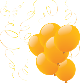 Yellow Balloons with Ribbons PNG
