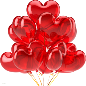 Heart Flying Balloons PNG