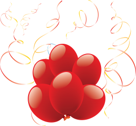 Heart Shaped Balloons with Ribbon PNG