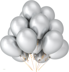 Silver Party Balloons PNG