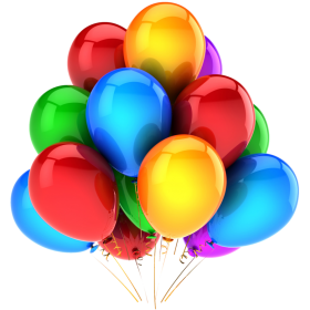 Multicolored Flying Balloons PNG