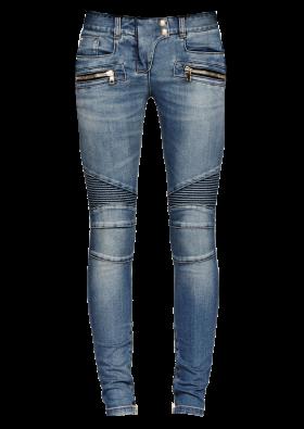 Balmain Blue Ribbed BIker Jeans PNG