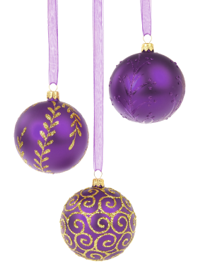 Purple Christmas Baubles PNG