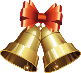 Golden Christmas Bells with Bow PNG