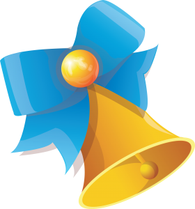 Bell with Blue Ribbon PNG