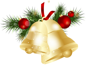 Traditional Golden Christmas Bell PNG