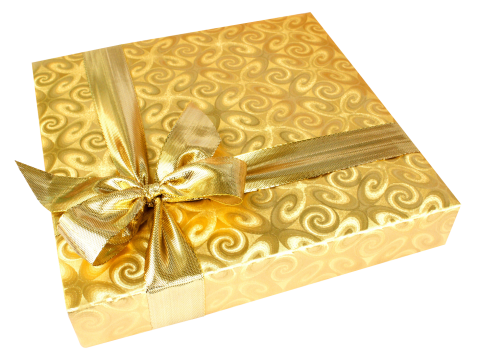 Golden Present with Ribbon PNG