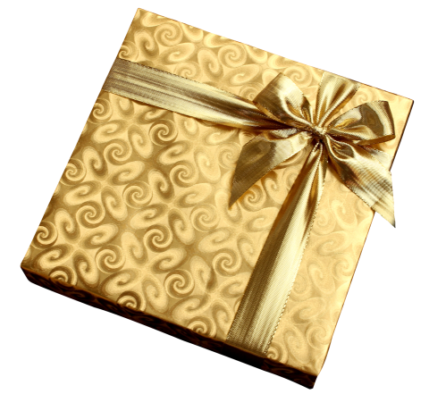 Golden Present  PNG