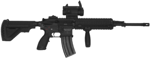 Black Assault Rifle PNG
