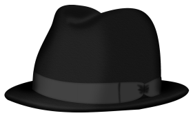 Black Fedora hat PNG