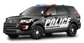 Black Ford Police Interceptor Car PNG
