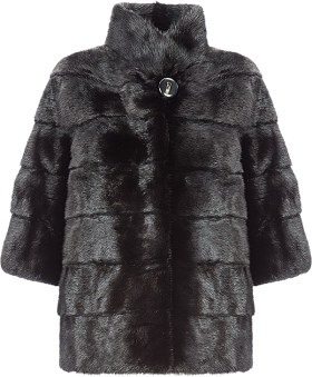 Black Rabbit Fur Pea Coat For Men Special PNG