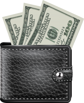 Black Wallet With Money PNG