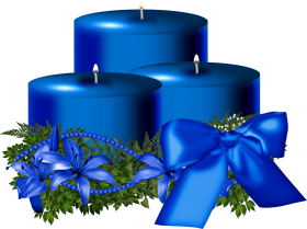 Tree Blue Christmas Candle Decorated PNG