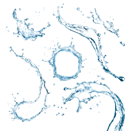 Blue Water Circle with water drops PNG