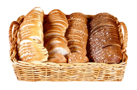Bread Slices in Wicker Basket PNG