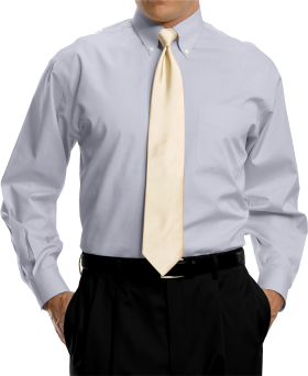 Bright Grey Full Sleeve Shirt With Golden Tie PNG