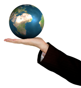 Business Woman Holding The World PNG
