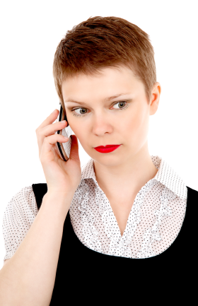 Business Woman on Mobile Phone PNG