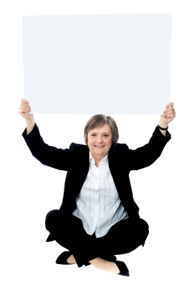 Business Women Holding Banner PNG