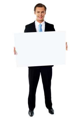 Businessmen Holding Banner PNG