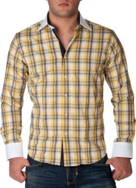 Check Full Dress Shirt Yellow PNG