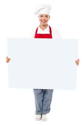 Chef Holding Banner PNG