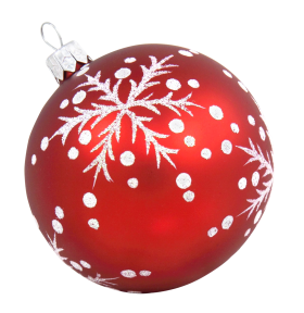 Red Christmas Bauble with Snow PNG