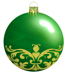 Green Christmas Bauble with Ornaments PNG