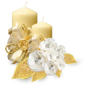 Golden Candle with White Roses PNG
