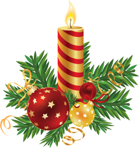 Decorated Striped Christmas Candle PNG