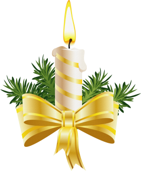 Christmas Candle with Golden Bow PNG
