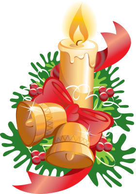 Christmas Candle with Bells and Ribbon PNG