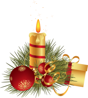 Christmas Candle with Gift and Baubles PNG