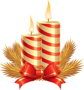 Striped Christmas Candle with Tiny Bow PNG