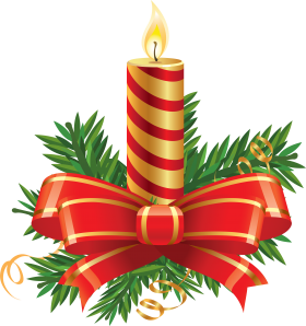 Striped Christmas Candle with Big Bow  PNG