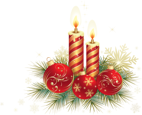 Two Striped Christmas Candle with Red Baubles PNG
