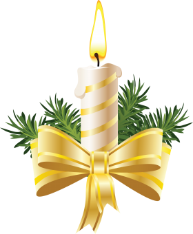 Christmas Candle with Big Bow PNG