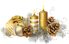 Golden Christmas Candle with Gift  PNG
